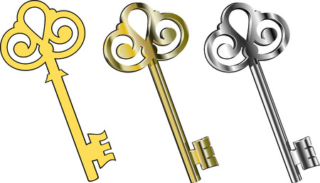 antique keys: Three  keys : gold, silver