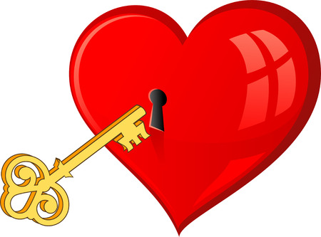 Golden key opens the heart. Over white.   Vector
