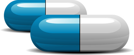 blue pills: Two medications capsules over white.