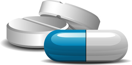 pharmacy icon: Medicament: two pills and capsules over white.
