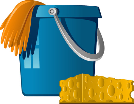 Cleaning: buckets, rubber gloves and sponge. illustration isolated on white.