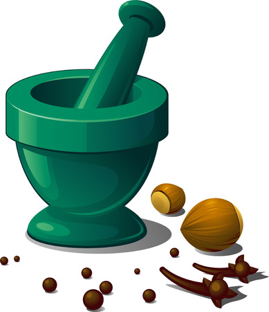 grinding: Mortar and spices.   Illustration