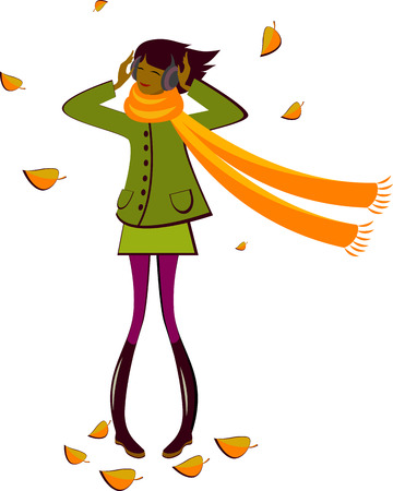 autumn woman: Girl Autumn. AI 8 Illustration