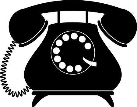 Retro telephone. Silhouette, black on white.