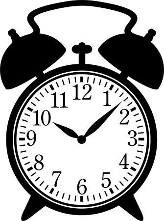 Clásico reloj de alarma. Silueta, negro sobre blanco.