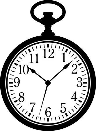 Reloj de bolsillo. Silueta, negro sobre blanco  Ilustración de vector