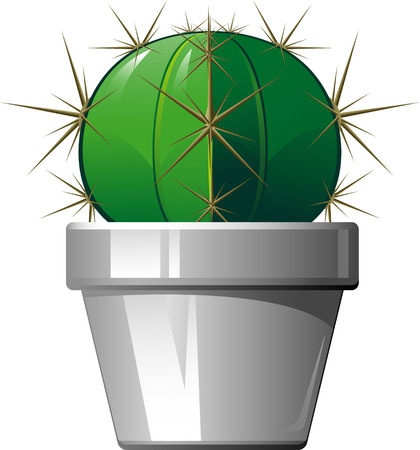 Cactus in a pot  illustration over white. Stock Vector - 7833156