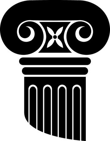 colonna romana: Colonne di ordine ionico. Silhouette nero su bianco.