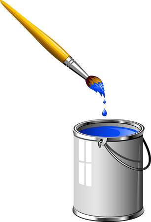 paint bucket: Bucket of blue paint and a brush. Over white.
