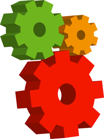 gearings: Multi-colored gears over white. EPS8