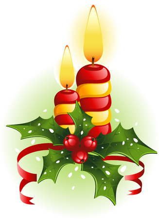 Christmas candles and holly. EPS8 Stock Vector - 8011869