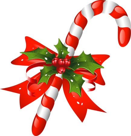 caramelos navidad: Ca�a de dulces de Navidad decorado con un arco y acebo. Sobre blanco.  Vectores