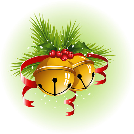 jingle bells: Christmas bells with red ribbon, holly and pine branches.
