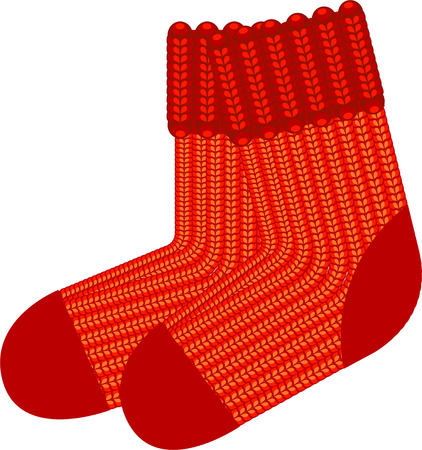 stockings and heels: Red knit wool socks.  over white.