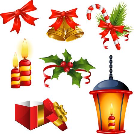 christmas bells: Set of Christmas design elements over white.  Illustration