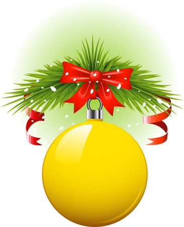 Yellow Christmas ball. over white. Stock Vector - 8080633