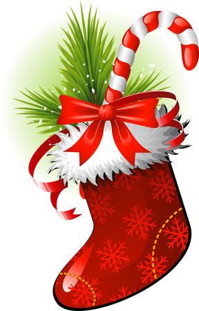 canes: Natale Stocking over white. Vettoriali