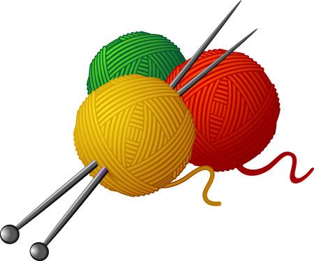 gomitoli di lana: Matasse di lana e aghi di maglieria isolati su bianco.  Vettoriali