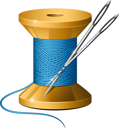 embroider: Spool of thread and needles over white.  Illustration