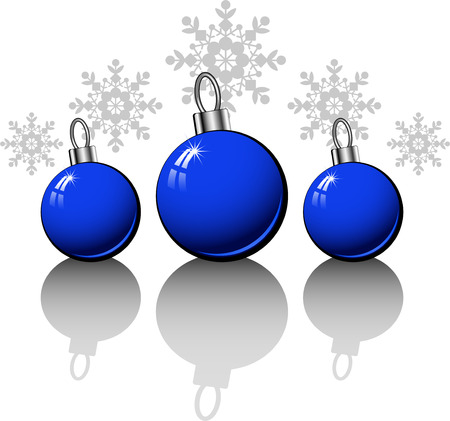 Christmas design elements with blue balls over white Stock Vector - 8221643