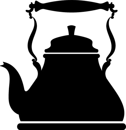 dishware: Silhouette of a vintage kettle over white  Illustration