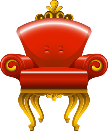 Red antique armchair over white, EPS 8 Vector
