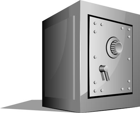 caja fuerte: Ilustraci�n vectorial de seguro sobre blanco. EPS 8