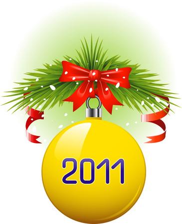 christmasball: Yellow Christmas ball 2011. Vector over white. EPS 8 Illustration