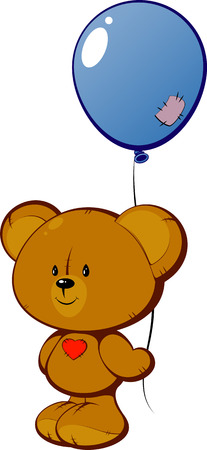 Teddy bear with red heart and balloon EPS8 Vector