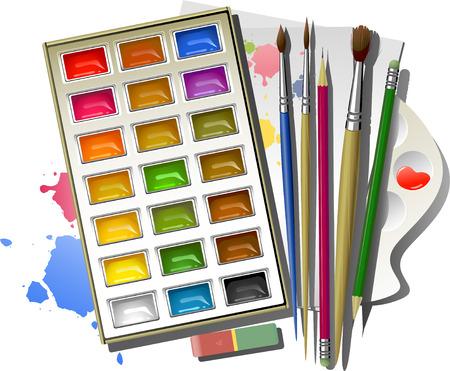 Fournitures de bureau art : peintures aquarelle, brosses, crayons, gomme, palette, papier. EPS8