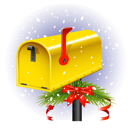 postbox: Yellow Christmas Mailbox over white.