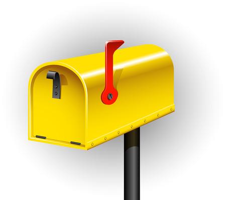 Yellow mailbox over white.  Stock Vector - 8427351