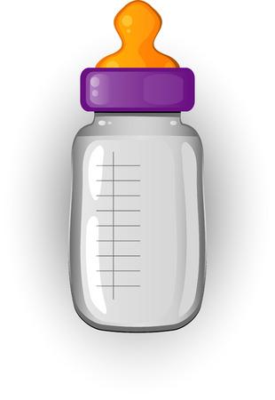 milk bottle: Baby bottle of milk over white.  Illustration