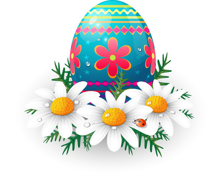 Easter egg with daisies and ladybug.  Vector