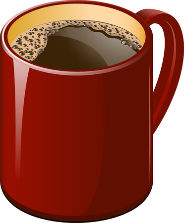 nonalcoholic: Red cup of coffee over white. Illustration