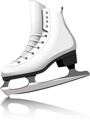 patins � glace: Patinage sur blanc.  Illustration