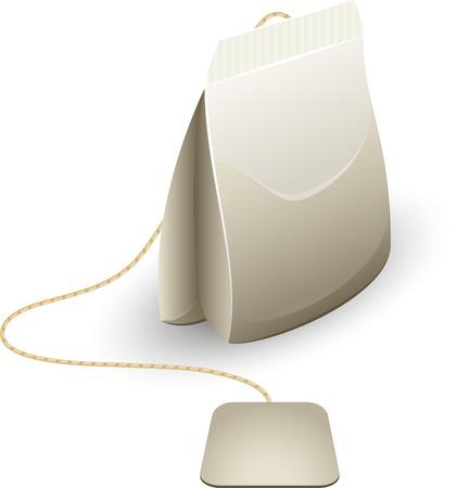 Tea bag over white.  Vector