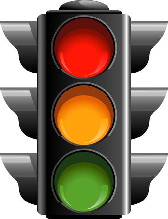 Traffic lights over white.