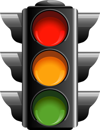 traffic control: Traffic lights over white.