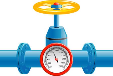 Contatore valvola e pressione del tubo gas over white