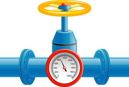 Gas pipe valve and pressure meter over white
