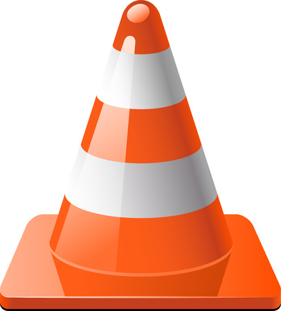 Traffic cone isolated over white.  Vector