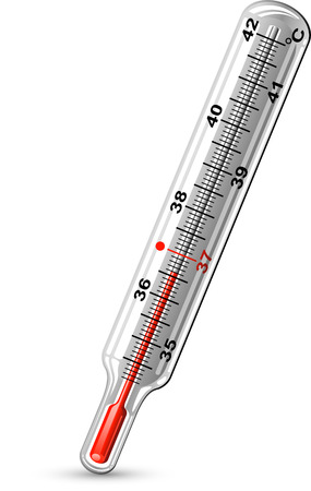 Thermometer over white