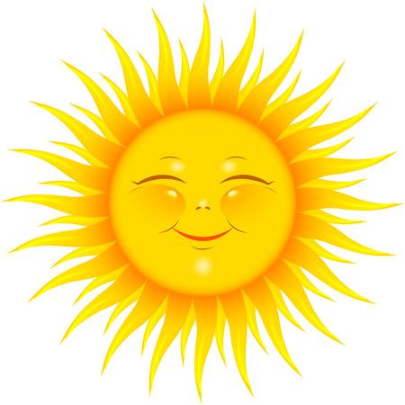 sol caricatura: Vector Smiling Sun en blanco. Vectores
