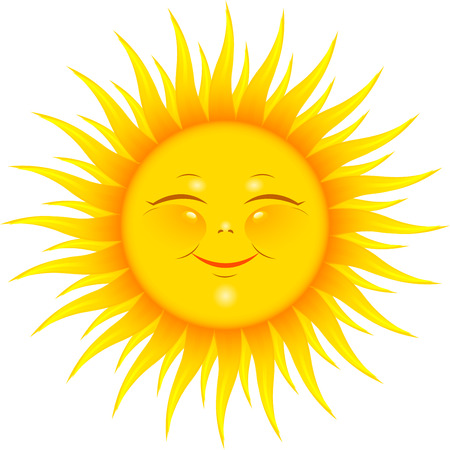 luz solar: Vector Smiling Sun over white.