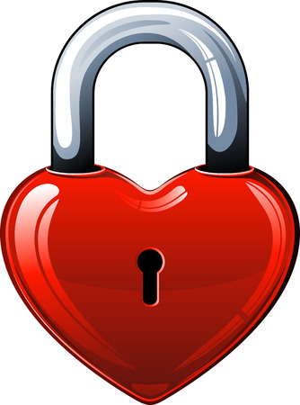 locked: Heart lock over white.  Illustration