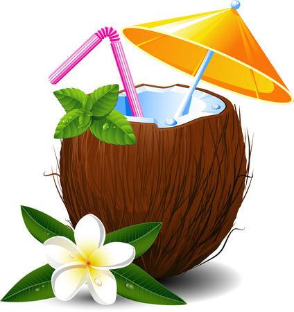Coco exótico cóctel, en blanco. EPS 8