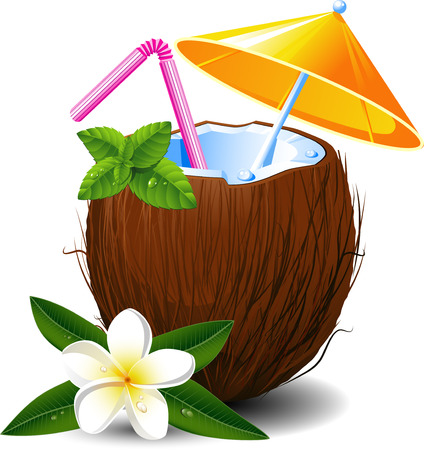 Exotic coconut cocktail, over white. EPS 8 Vector