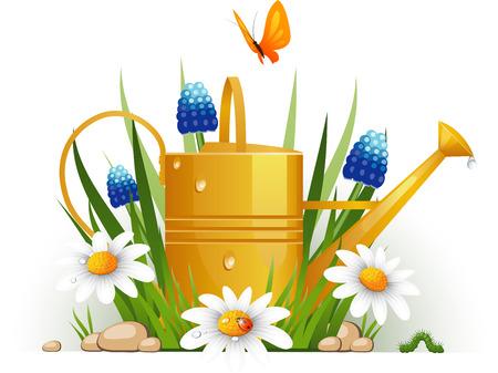 watering: Tuin gieter met bloemen over wit. EPS 8