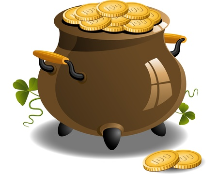 Pot of Gold (St. Patrick's Day) over white.  EPS 8 Stock Vector - 9317112